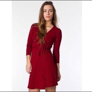 American apparel red julliard wrap dress mini S